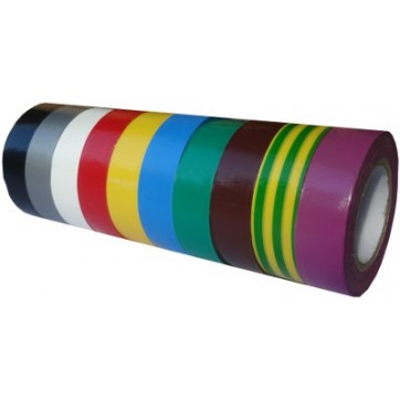 Ruban adhésif PVC couleur larg 19 mm long 10 m, lot de 10 rlx