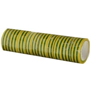 Ruban adhésif PVC vert/jaune larg 15 mm long 10 m, lot de 10 rlx