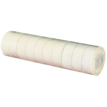 Ruban adhésif PVC blanc larg 15 mm long 10 m, lot de 10 rlx