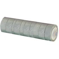 Ruban adhésif PVC gris larg 15 mm long 10 m, lot de 10 rlx
