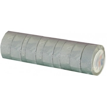 Ruban adhésif PVC gris larg 15 mm long 10 m, lot de 10 rlx