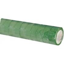 Ruban adhésif PVC vert larg 15 mm long 10 m, lot de 10 rlx