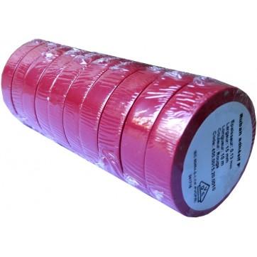 Ruban adhésif PVC rouge larg 15 mm long 10 m, lot de 10 rlx