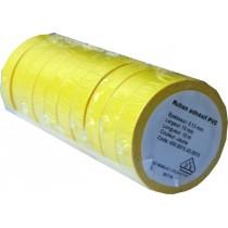 Ruban adhésif PVC jaune larg 15 mm long 10 m, lot de 10 rlx